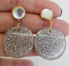 Re Purposed Silver Glitter Plastic Dangle Pierced Earrings