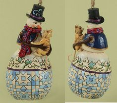 Snowman with Cat Ornament