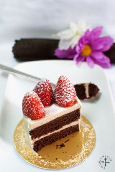Chocolate and Strawberry Bavarian Cream Layer Cake by Food Is My Life / Foodie Baker, via Flickr