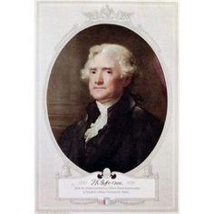 Thomas Jefferson (Litho of Original Stuart) Gilbert Stuart (1755-1828American) Bowdoin College Brunswick Maine USA Canvas Art - Gilbert Stuart (18 x 24)