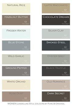 Foto: Mooie warme tinten. per 4 perfect te combineren, maar natuurlijk ook met andere tinten. deze kleuren zijn er in de kalkverf, krijtverf en matte lak.. Geplaatst door PureandOriginal op Welke.nl