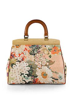 We love the #floral pattern on this #ToryBurch Printed Cotton Tote.