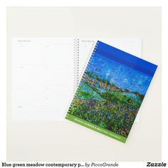 Blue green meadow contemporary painting tranquil planner Planning Your Day, Consumer Products, Contemporary Paintings, Getting Organized, Notebooks, The Help, Activities For Kids, Mothers, Blue Green