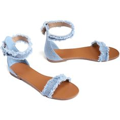 Blue Frayed Denim Sandal ($15) ❤ liked on Polyvore featuring shoes, sandals, open toe sandals, ankle wrap shoes, ankle tie sandals, ankle strap sandals and denim sandals