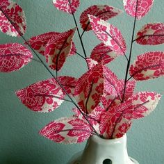 Sweet Leaves  Rose Bouquet Fabric Branches set of 3 by janejoss
