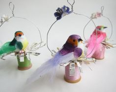 Springtime Bird Ornaments - Vintage Spools - Easter Tree - Whimsical Shabby Chic Woodland