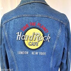 Hard Rock Cafe London & New York Lee Riders Jean Jacket 42L Large | Made In USA 90's