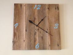 Clock built from reclaimed wood.