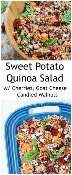 A nutritious quinoa salad loaded with anti-inflammatory cherries and vitamin-A packed sweet potatoes. Garnished with creamy goat cheese crumbles and lightly candied walnuts. Incredible!