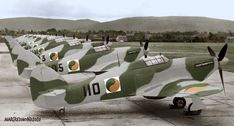 Colourising History - A Line Up of Irish Air Corps 'Hawker Hurricane' aircraft, Casement Aerodrome (Baldonnell). Ww2 Aircraft, Military Aircraft, Hawker Hurricane, Defence Force, Battle Of Britain, 1940s, Fighter Jets, Ireland, Irish