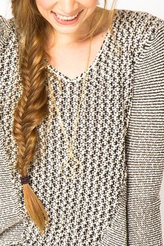 Melange Pullover Sweater and fishtail braid