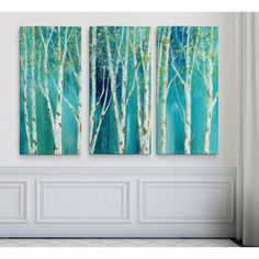 'Birch on Blue' Acrylic Painting Print Multi-Piece Image on Wrapped Canvas 3 Canvas Paintings, Multi Canvas Painting, Long Painting, Diy Painting, Painting Prints, Canvas Wall Art, Multi Canvas Art, Tree Paintings, Diy Tableau