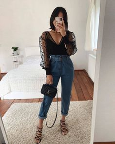 trendy outfits for summer . trendy outfits for school . trendy outfits for women . Cute Casual Outfits, Simple Outfits, Stylish Outfits, Black Outfits, Looks Chic, Looks Style, Fashion 2020, Look Fashion, Fashion Women
