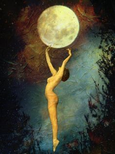 Mystical, mythological art of the Goddess and the Divine Feminine by Lisbeth Cheever-Gessaman Wicca, Magick, Kunst Poster, Moon Magic, Foto Art, Beautiful Moon, Moon Goddess, Nocturne, Stars And Moon