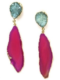 Druzy and Agate Drop Earrings - Turquoise and Pink at Accessory Concierge