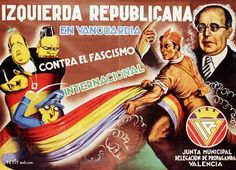 Spanish Civil War: poster supporting the Republicans and denouncing the fascists
