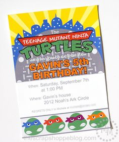 Ninja Turtle Custom PRINTABLE Birthday Invitation