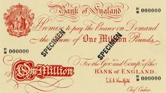 Bank of England 1 million pound note