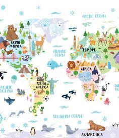 Nursery Printable, Animal world map poster Kids World Map Childrens map print World map for kids Playroom decor World Map Nursery kids maps - LB prints - Animals Map Nursery, Nursery Prints, Animal Nursery, Nursery Decor, World Map Printable, Kids World Map, World Map Wallpaper, Maps For Kids, World Map Poster