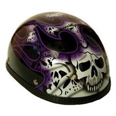 Purple skull flame motorcycle helmet.