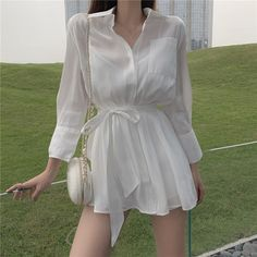 Women Long Shirt High Waist Shorts Suit Solid Two-Piece Set Button Lapel Single-Breasted Long Sleeve Casual Outfits Korean Girl Fashion, Korean Fashion Trends, Ulzzang Fashion, Kpop Fashion Outfits, Korean Outfits, Mode Outfits, Grunge Outfits, Stylish Work Outfits, Cute Casual Outfits
