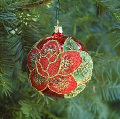 RED ROSE (ON RED BALL) ORNAMENT