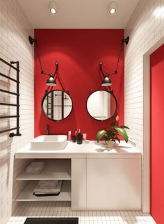 Red and White Bathroom Decor Unique 3 Small Apartments that Rock Un Mon Color Schemes [with Floor Plans] Red Bathroom Decor, Grey Bathrooms, White Bathroom, Beautiful Bathrooms, Bathroom Ideas, Modern Bathroom, Minimalist Bathroom, Bathroom Accessories, French Bathroom