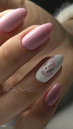 Feather Nail Art Designs – Top 100 Design #acrylicnailart