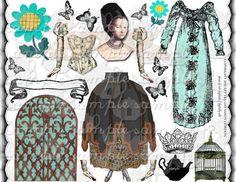 ART TEA LIFE Tudor Paper Doll Collage Sheet Journal Page Scrapbook altered art doll parts clip art Digital File