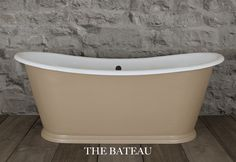 "The #original Bateau - This stunning #CastIron #bath was rescued from a house, restored and painted in #FarrowandBall ""London Stone"" paint"