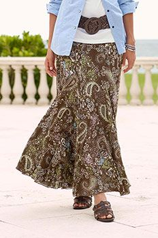 Paisley broomstick skirt...love it with the belt