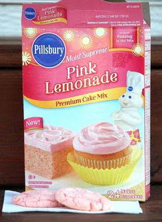 Pink Lemonade Cookies - Gluesticks Kaylee and I saw this Pink Lemonade Cake Mix around Easter time at the Grocery store and thought it would be fun to try out. After all, pink is her favorite color. She has pink-eye Pink Lemonade Pie, Pink Lemonade Frosting, Pink Lemonade Cookies, Pink Lemonade Recipes, Flavored Lemonade, Cake Pops, Cake Mix Cookies, Lemonade Recipe For Party, Key Lime Cake Mix