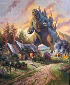 Thomas Kinkade: Painter of Godzilla?