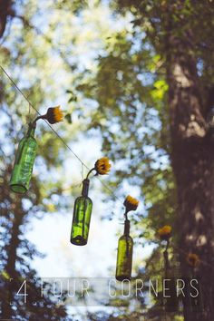 Sunflowers hanging in bottles at wedding.
