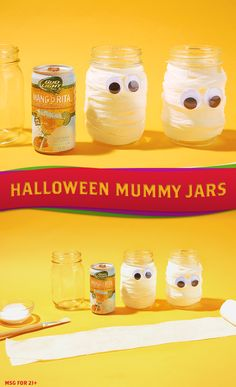 Here's a DIY decoration idea that'll make your Halloween party a scare. Ingredients — Mason Jars, Paint Brush Medical Gauze, Crafting glue, Googly eyes. Directions — 1) Wash and dry jar, removing any outside labels. 2) Apply thin layer of crafting glue to the outside. 3) Wrap it with the gauze, starting at the bottom and working up. 4) Seal it with another coat of crafting glue. 5) Add googly eyes. 6) Pour in Bud Light Lime-A-Ritas and ENJOY!