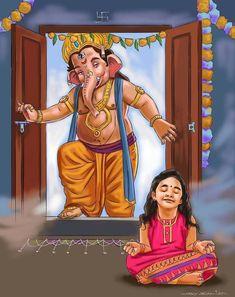 Shri Ganesh Images, Shiva Parvati Images, Durga Images, Ganesha Pictures, Ganesha Drawing, Lord Ganesha Paintings, Ganesha Art, Shiva Art, Krishna Art