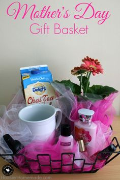 Treat Mom special on Mother's Day with this easy to put together Mother's Day Gift Basket! Fill with everything Mom needs to pamper her! Be sure to save by pinning to your Gift Giving Board! Mothers Day Baskets, Mother's Day Gift Baskets, Wine Baskets, Mothers Day Crafts, Mother Day Gifts, Gifts For Mom, Crafts For Kids, Grandma Crafts, Basket Gift