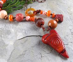 Orange Heart Necklace Handmade Enamel Beads by LindaLandigJewelry