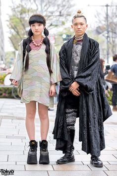 Akina and Mikoto - both 18 year old students - on the street in Harajuku wearing kimono jackets, resale fashion, and boots.