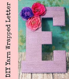 Embellished Yarn Wrapped Letter - Simple and cute. Great for a nursery or a mantel.