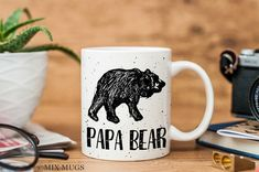 Papa Bear Mug, Dad Mug, Bear Mug, Gifts for Dad, Grandpa Gift, Mugs for Grandpa, Grandfather Gift, Mugs for Him, Fathers Day Gifts (M1611)