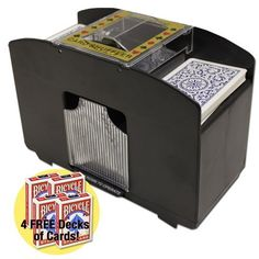4 Deck Card Shuffler w/4 Free Decks of Bicycle Playing Cards by Brybelly by Brybelly. $15.99. Bring the casino feel to your next home game with this battery-operated, 4-deck playing card shuffler. Whether you are a beginning or expert poker or blackjack player, this shuffler is a great way to save time during your game. This item also makes a great gift idea for the avid gamer in your life.   It's also the perfect solution for people with arthritis who want an easier, less painfu...