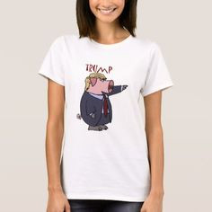 Shop Funny Donald Trump Pig Political Cartoon T-Shirt created by Politicalfolley. Personalize it with photos & text or purchase as is! Cartoon T Shirts, Cute Cartoon, Funny Political Cartoons, Groundhog Day, Suit And Tie, Wardrobe Staples, Funny Tshirts, Shirt Style, Donald Trump