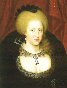 1612 - Anne of Denmark wears mourning for her son, Henry, Prince of Wales. She wears a black wired cap and black lace. Anne of Denmark in mourning, by Marcus Gheeraerts the Younger. - in Western European fashion. Mary Queen Of Scots, Queen Anne, King Queen, Anne Of Denmark, Adele, Isabel I, House Of Stuart, English Monarchs, Plantagenet