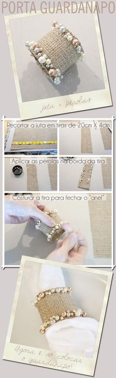 Make your own shabby chic napkin rings. Burlap Crafts, Diy And Crafts, Ideias Diy, Napkin Folding, Decoration Table, Napkin Rings, Diy Wedding, Napkins, Wedding Decorations