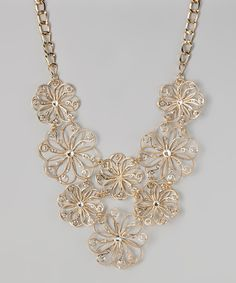 Gold Flower Bib Necklace