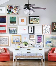 Gallery Wall Perfection: Tips and tricks for the perfect gallery wall from the pros at Around the Edge on the TSG Palm Beach - West Palm Beach, FL #tsgpalmbeach