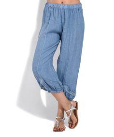 Look at this #zulilyfind! Blue Linen Courtemi Pants #zulilyfinds