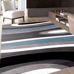 Abstract Contemporary Modern Blue Area Rug 5 3 X 7