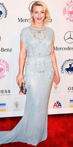 At the Carousel of Hope Ball, Julianne Hough turned heads in a powder blue Jenny Packham gown and a silver clutch.